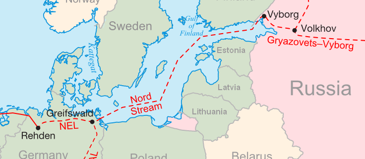 Nord Stream 2 map, by Samuel Bailey (CC by 3.0) https://en.wikipedia.org/wiki/Nord_Stream#/media/File:Nordstream.png